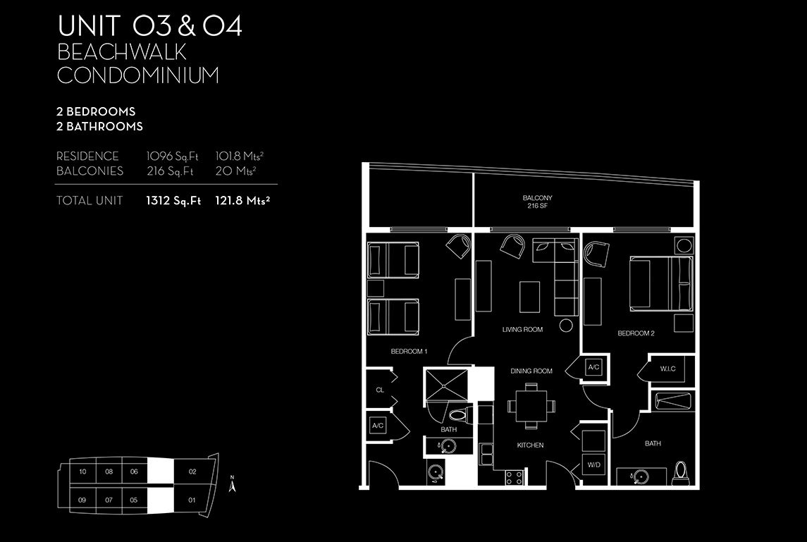 Beachwalk Floorplan Unit 03 04